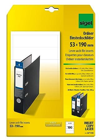 Sigel LP734 Lomos de PC para archivadores, 53x190 mm (A4), 185 g, 100 unds.=20 hojas: Amazon.es: Oficina y papelería