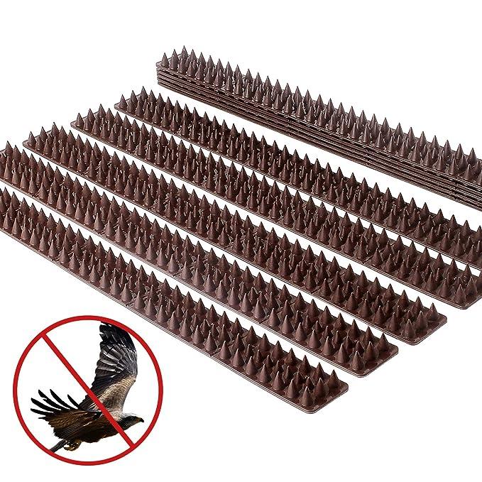 Pinchos Valla Anti-aves y anti-gatos 20 Piezas de 49cm Polipropileno anti UV (marrón)