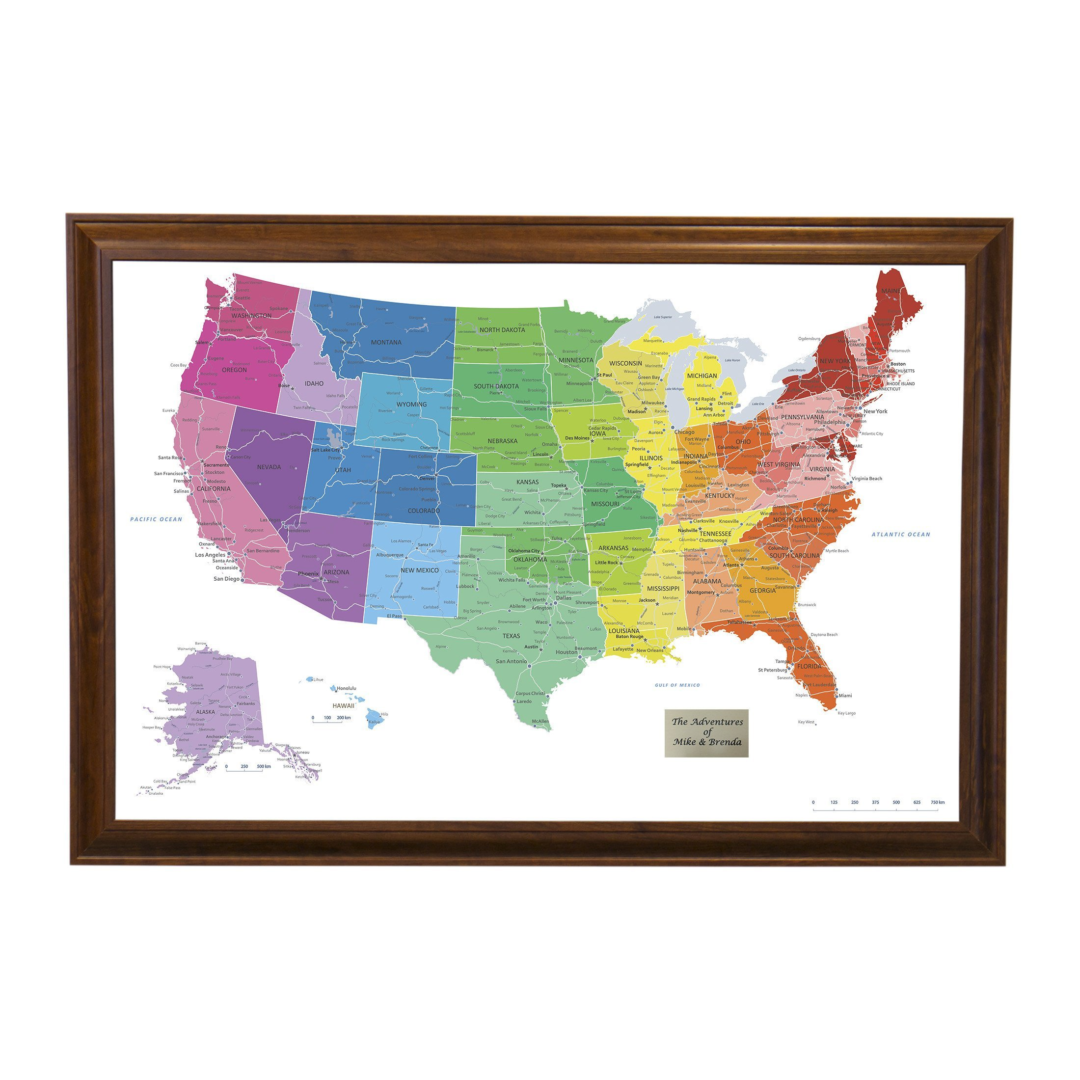 Personalized Colorful USA Push Pin Travel Map with Brown Frame and Pins 24 x 36