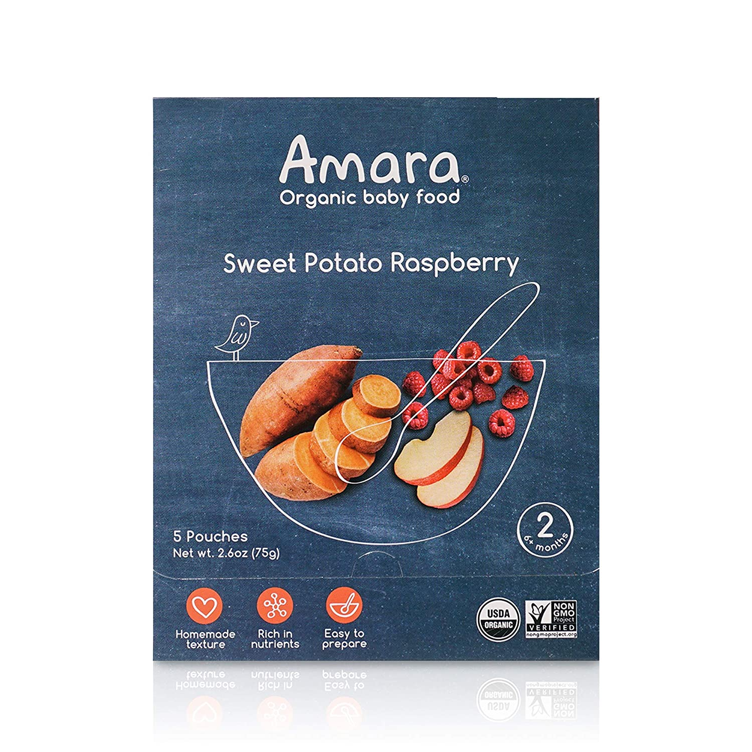 Amara Organic Baby Food   Sweet Potato Raspberry   Homemade Made Possible   Mix with Breastmilk or Water   Certified Organic, Non-GMO, No Added Sugars  Stage 2   5 Pouches