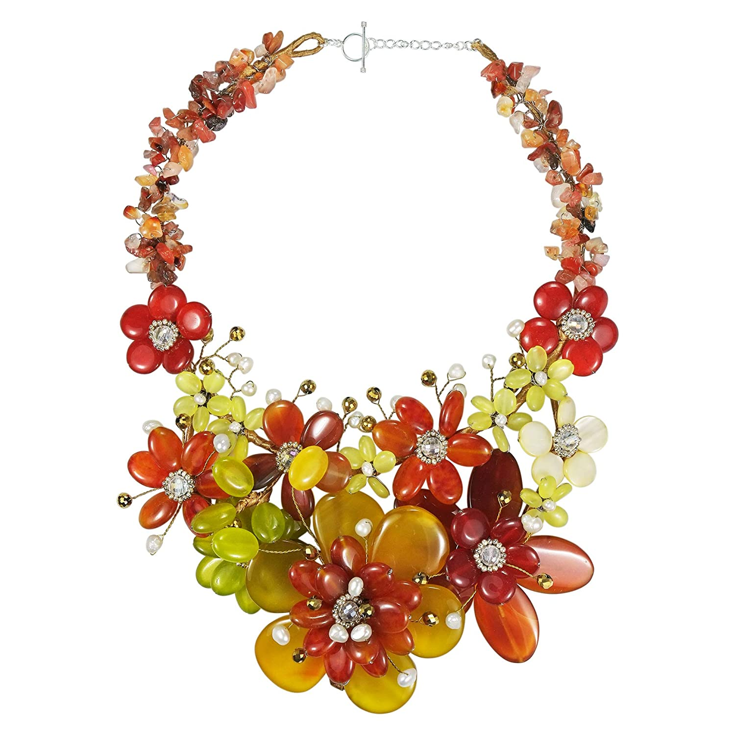 AeraVida Tropical Enchantress Autumn Mix Stone Flowers .925 Necklace Jewelry Set