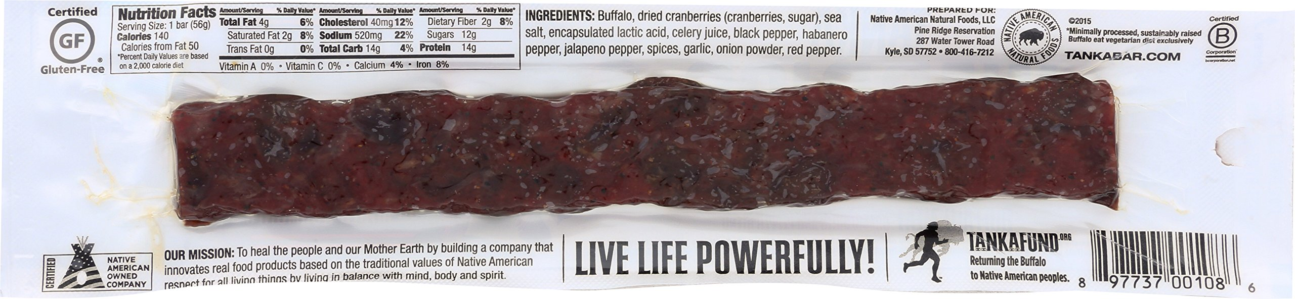 Bison Pemmican Meat Bar with Buffalo and Cranberries by Tanka, Gluten Free, Beef Jerky Alternative, Slow Smoked Original, 2 Ounce Bar, Pack of 12 by Tanka (Image #2)