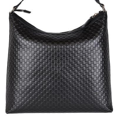 6dd0daf7af23d Gucci Damen Micro GG GUCCISSIMA Leder Hobo Handtasche (schwarz 449732)