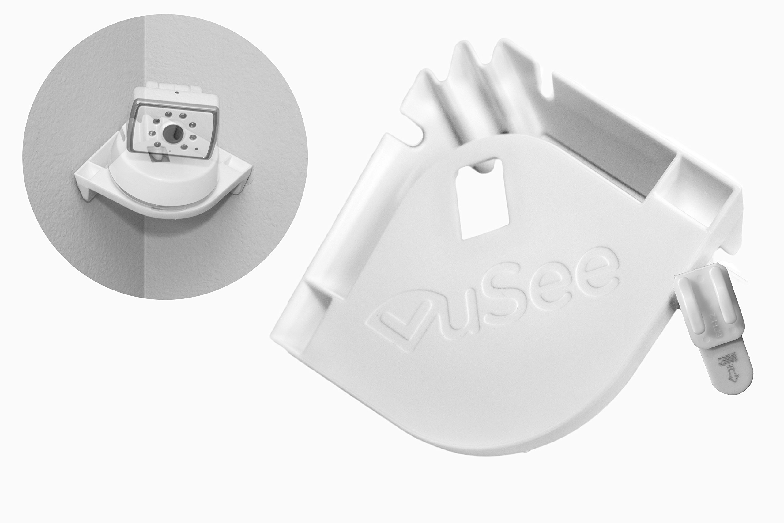 VuSee - The Universal Baby Monitor Shelf (Corner) - Compatible with Most Baby Monitors - Peel and Stick Installation