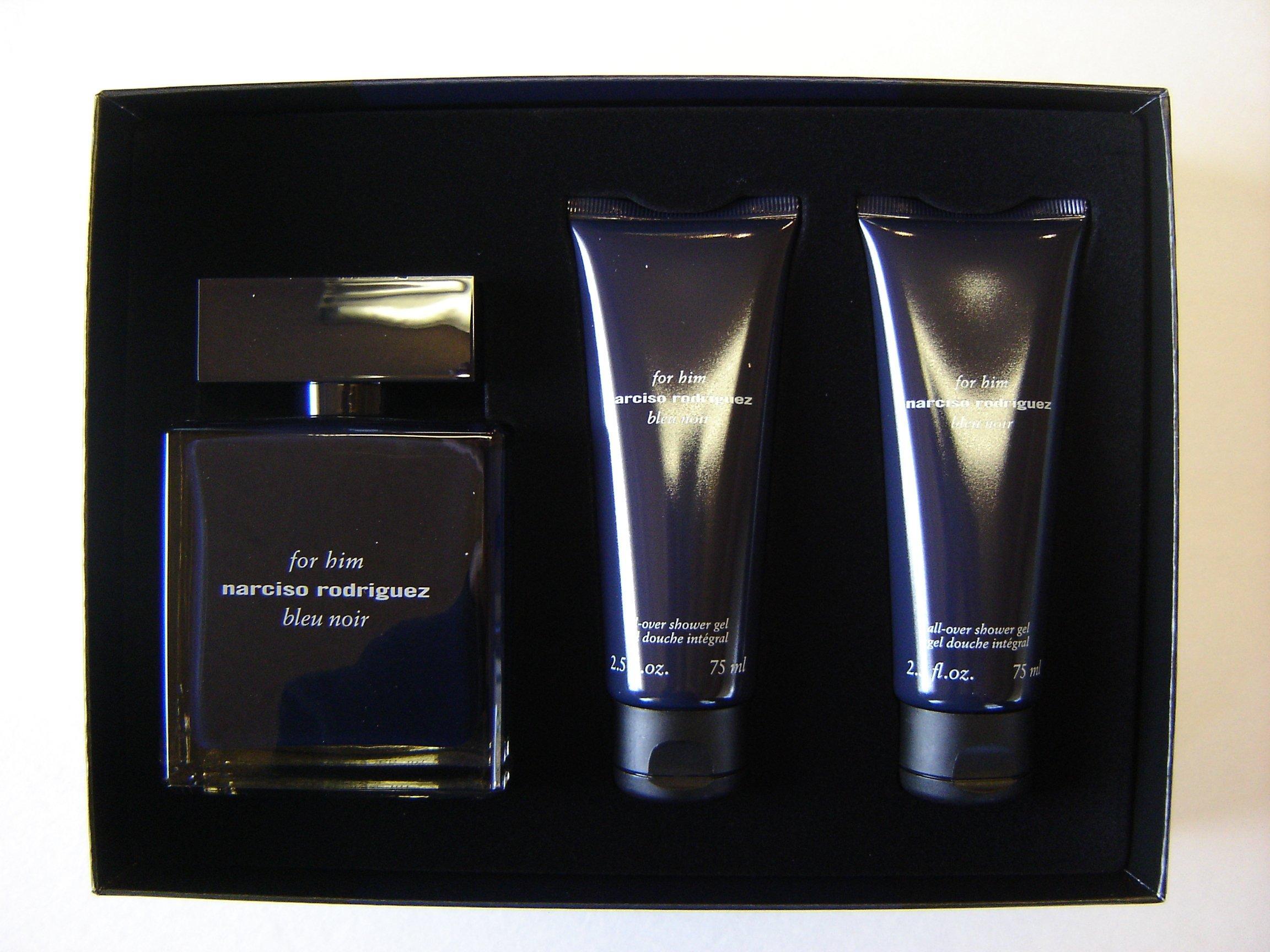 NARCISO RODRIGUEZ Bleu noir Set Men Eau De Toilette EDT 3.4oz + Shower Gel 2.5oz, Hard Box'.