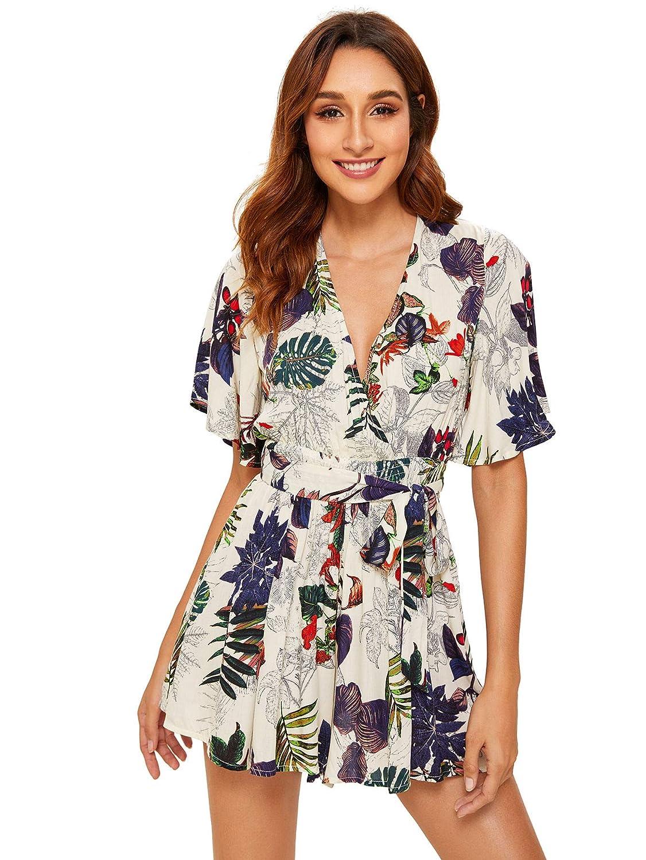01a913bc4d5cc Amazon.com: SheIn Women's V Neck Floral Print Tie Waist Short Romper  Jumpsuit: Clothing