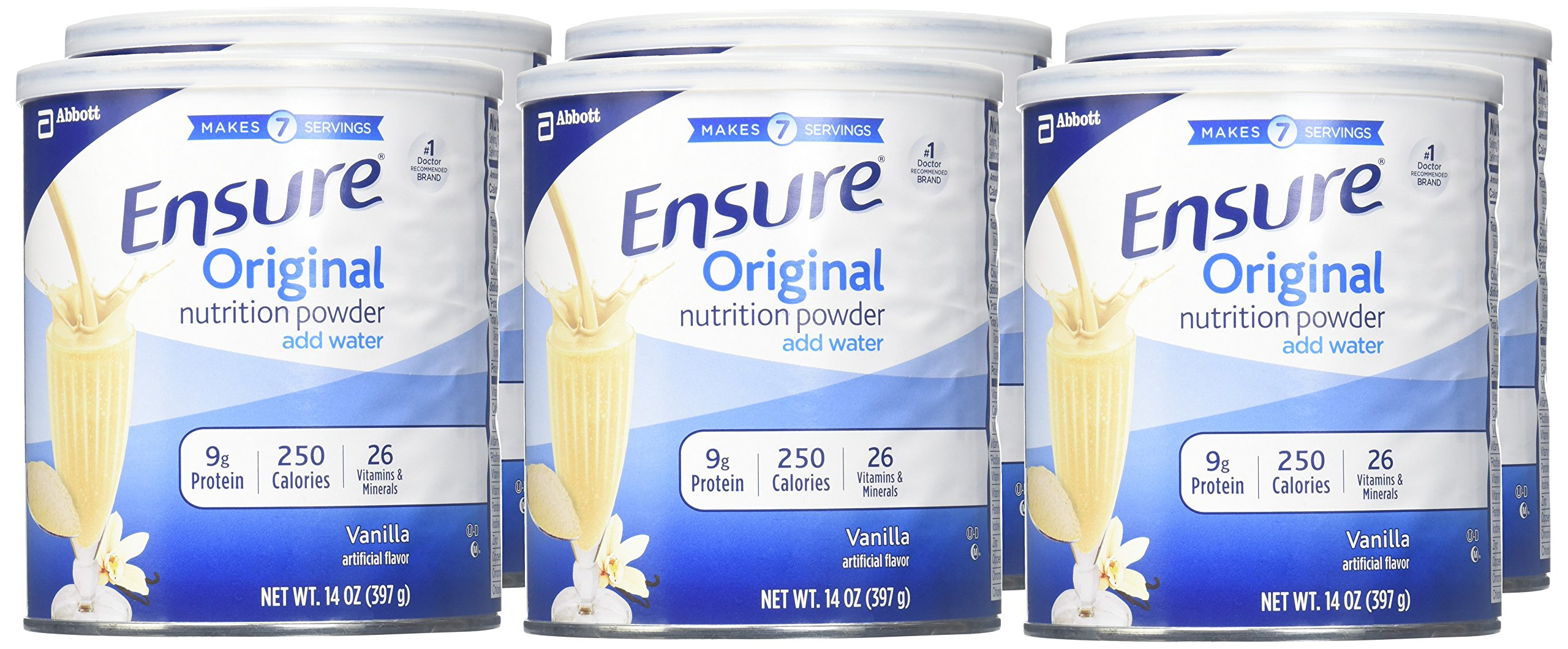 Ensure Original Nutrition Powder with 9 grams of protein, Meal Replacement, Vanilla, 14 oz, 6 count by Ensure (Image #2)