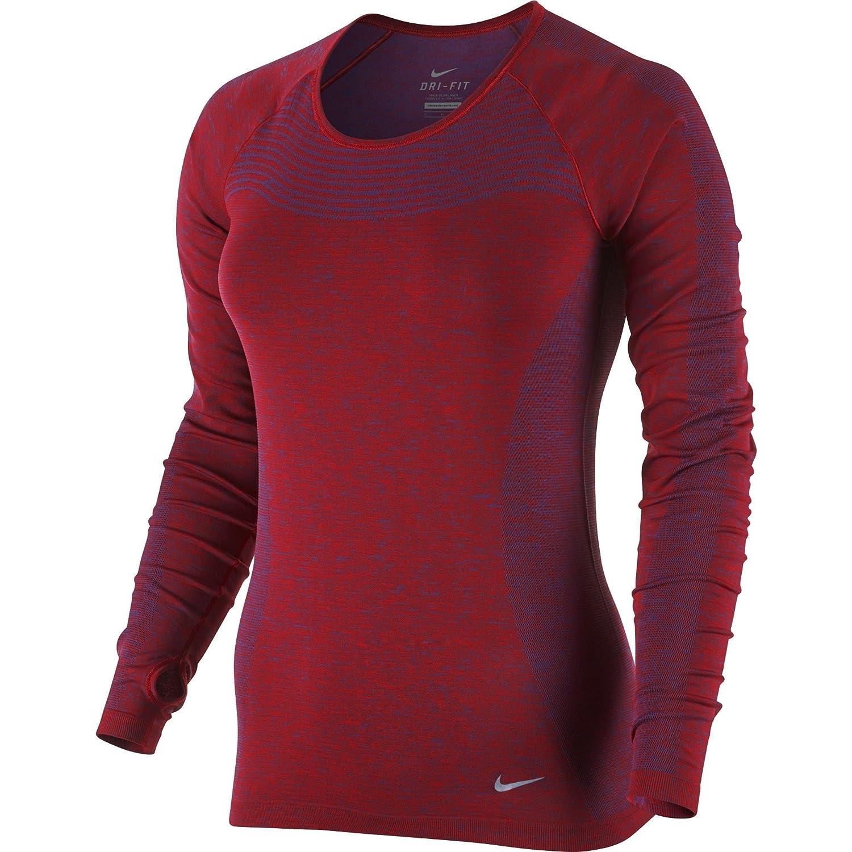 d3937f6c Amazon.com: Nike Womens Dri-Fit Knit Long Sleeve Shirt - Deep Royal  Blue/University Red - XL: Clothing