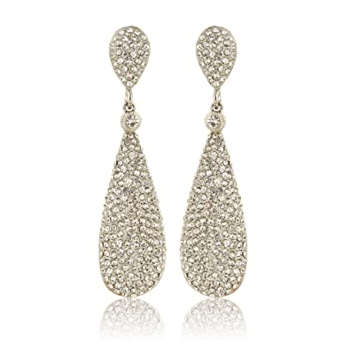 Buy Moonstruck Silver Diamond Metal Dangle Drop Earrings For Women ... 912f4dc26c