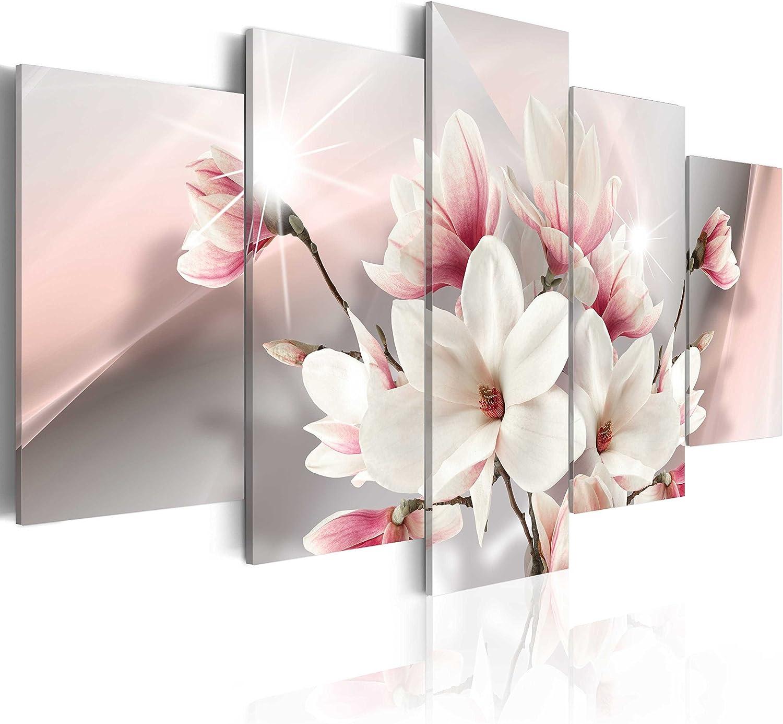murando - Cuadro en Lienzo Magnolias Flores 200x100 - Impresión de 5 Piezas Material Tejido no Tejido Impresión Artística Imagen Gráfica Decoracion de Pared Naturaleza b-A-0217-b-m