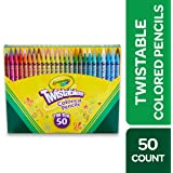 Crayola Twistables Coloured Pencils, 50 Colours, Twist for fun, Art & Craft, Kids, Perfect for at Home or the Classroom, No Sharpening Needed!