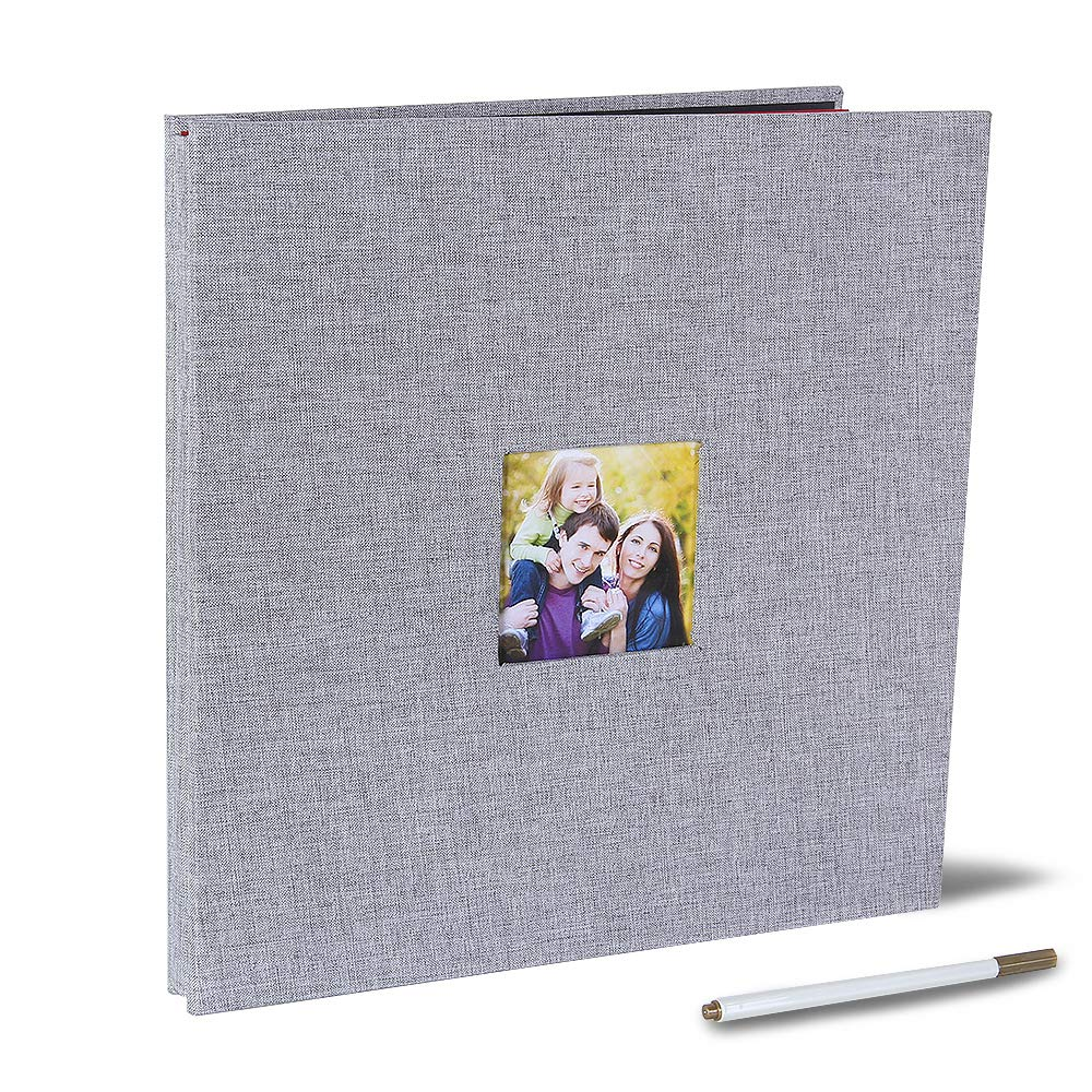 Large Self Adhesive Photo Album 13 x 12.6 Inches Magnetic Scrapbook Album 40 Magnetic Double Sided Pages Fabric Hardcover DIY Photo Album with A Metallic Pen