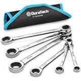 DURATECH Double Box End Ratcheting Wrench Set, Metric, 6-Piece, 8-19mm, Chrome Vanadium Steel Construction with Rolling Pouch