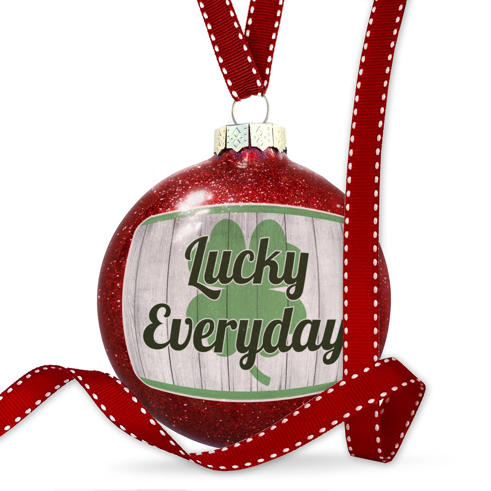 Christmas Decoration Lucky Everyday St. Patrick's Day Shamrock on Wood Ornament by NEONBLOND