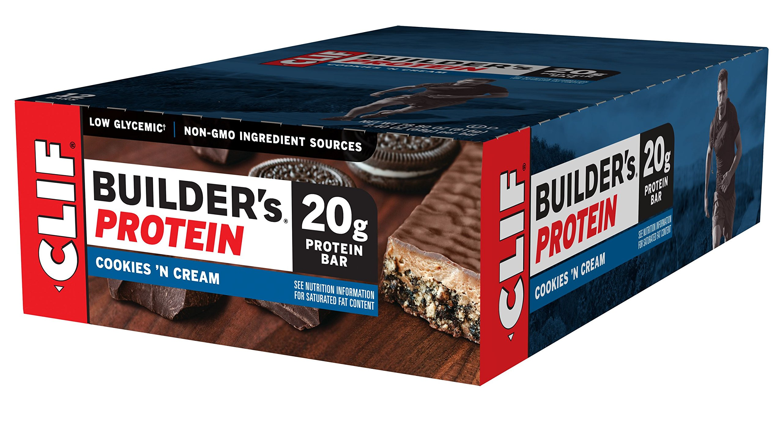 CLIF BUILDER'S - Protein Bar - Cookies and Cream - 2.4 Ounce Non-GMO Bar, 12 Count
