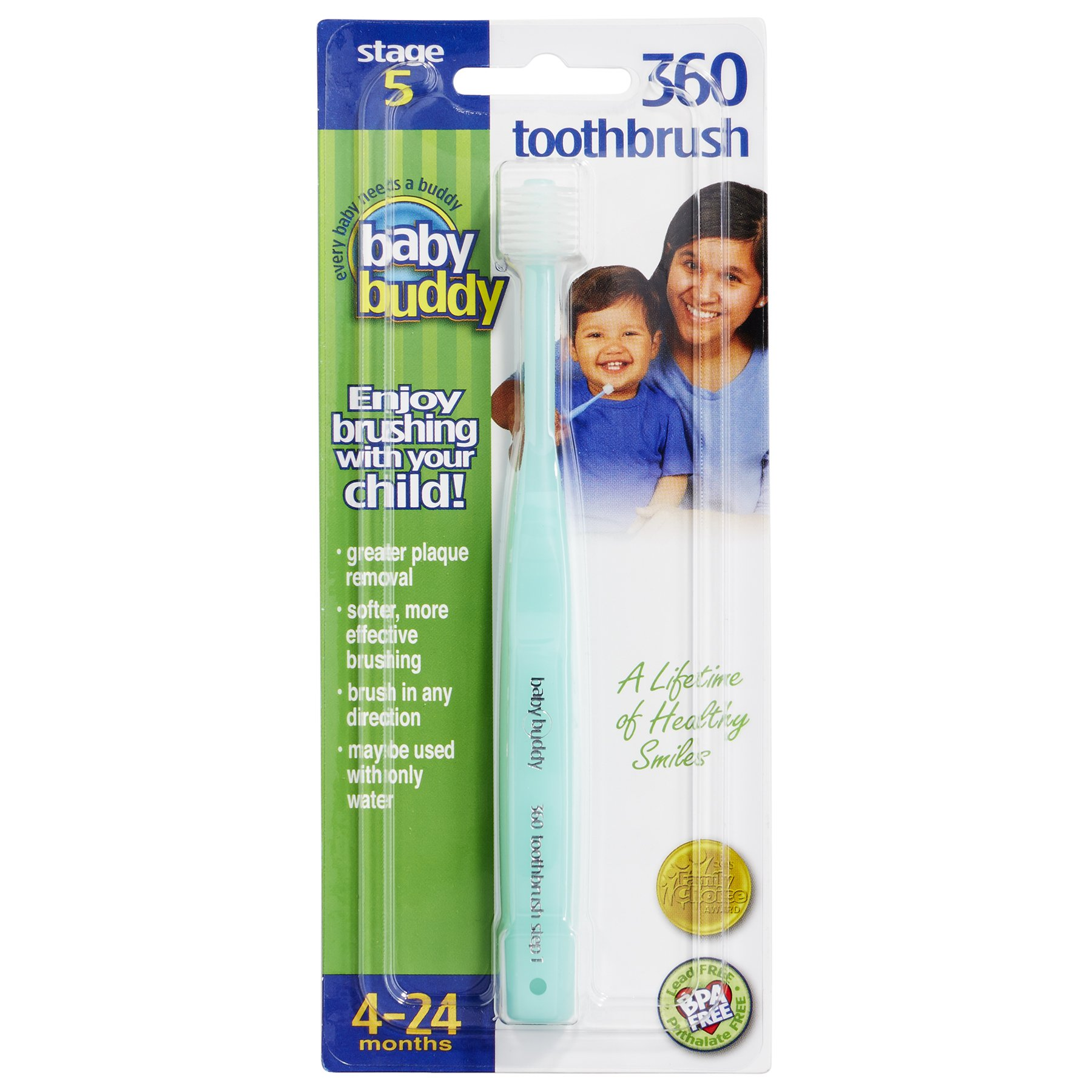 Baby Buddy Brilliant Baby Toothbrush by For Ages 4-24 Months, BPA Free Super-Fine Micro Bristles Clean All-Around Mouth, Kids Love Them, Mint, 1 Count