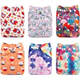Babygoal Baby Girl Cloth Diapers,One Size Reusable Adjustable Washable Pocket Nappy for Girl, 6pcs Diapers+6pcs Microfiber Inserts+4pcs Charcoal Bamboo Inserts 6FG04
