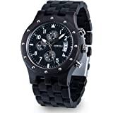 Bewell Mens Wood Watches Quartz Analog Sub-Dial Date Display Chronograph Luminous Hands W109D