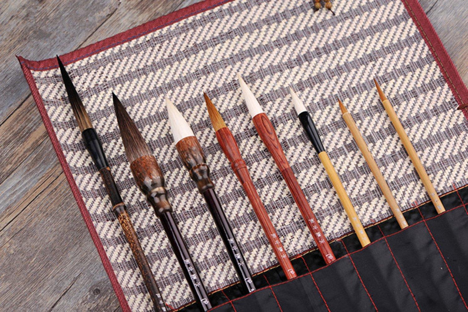 Hmayart MB029 Classic Brush Pen Set for Sumi-e Painting / 8 Brushes Plus 1 Bamboo Wrap by Hmayart