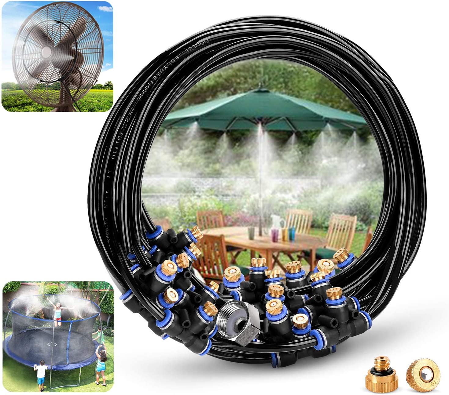 GLANT Misting Cooling System Misters Cooling 27ft Outdoor Mister for Patio Garden Greenhouse Umbrellas Irrigation Sprinkle with 27ft Misting Line + 11 Brass Mist Nozzles + a (3/4) Brass Adapter