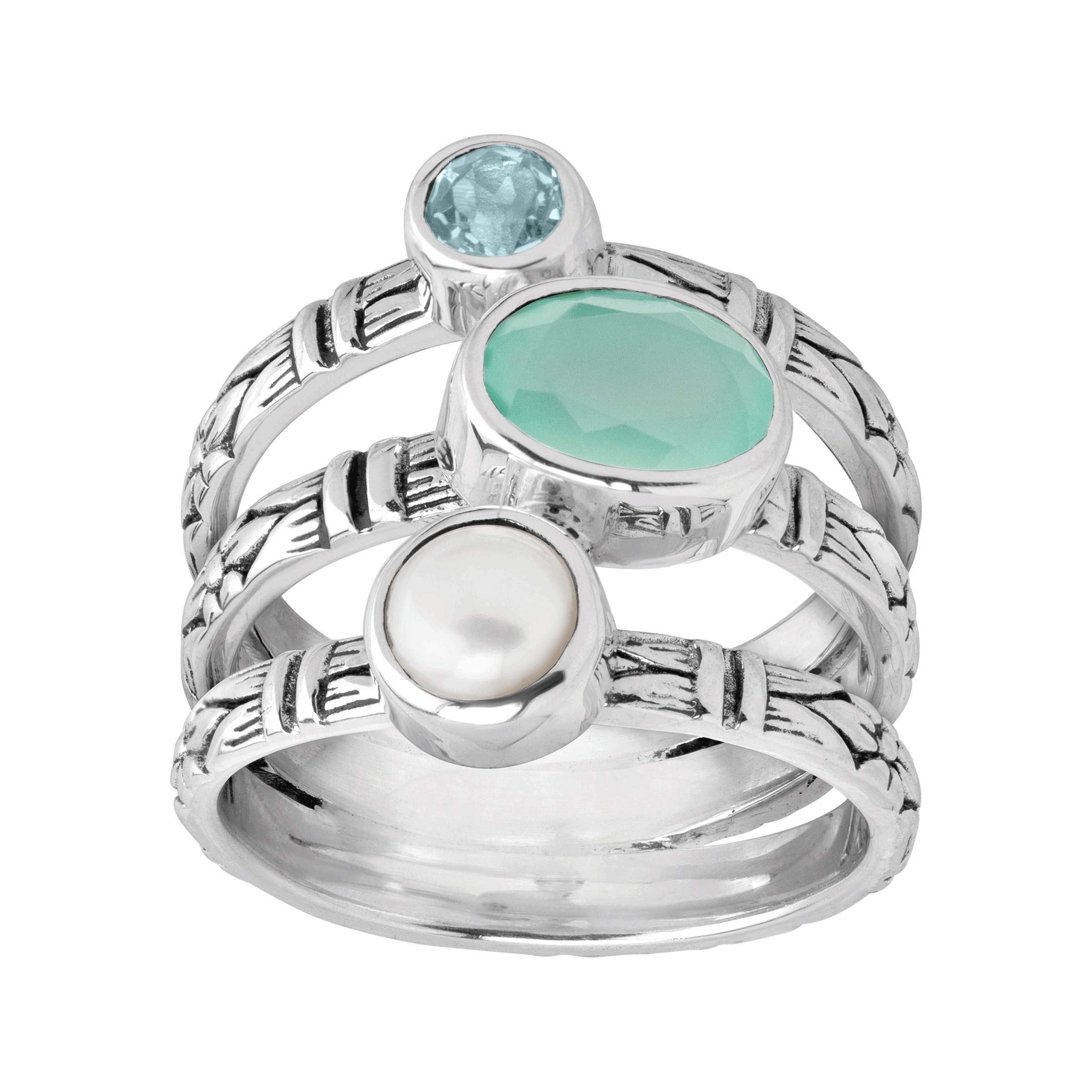 Silpada 'Metamorphosis' Freshwater Cultured Pearl, Natural Chalcedony & Blue Topaz Layered Ring in Sterling Silver Size 6