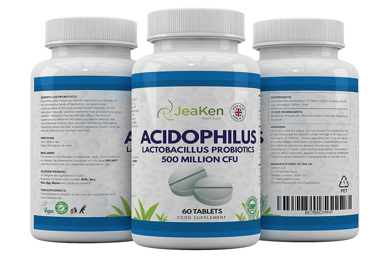 ACIDOPHILUS LACTOBACILLUS Por JeaKen - 60 tabletas Acidophilus Lactobacillus Probiotics - Alta resistencia 500 Millones de UFC Probiotics para la salud ...