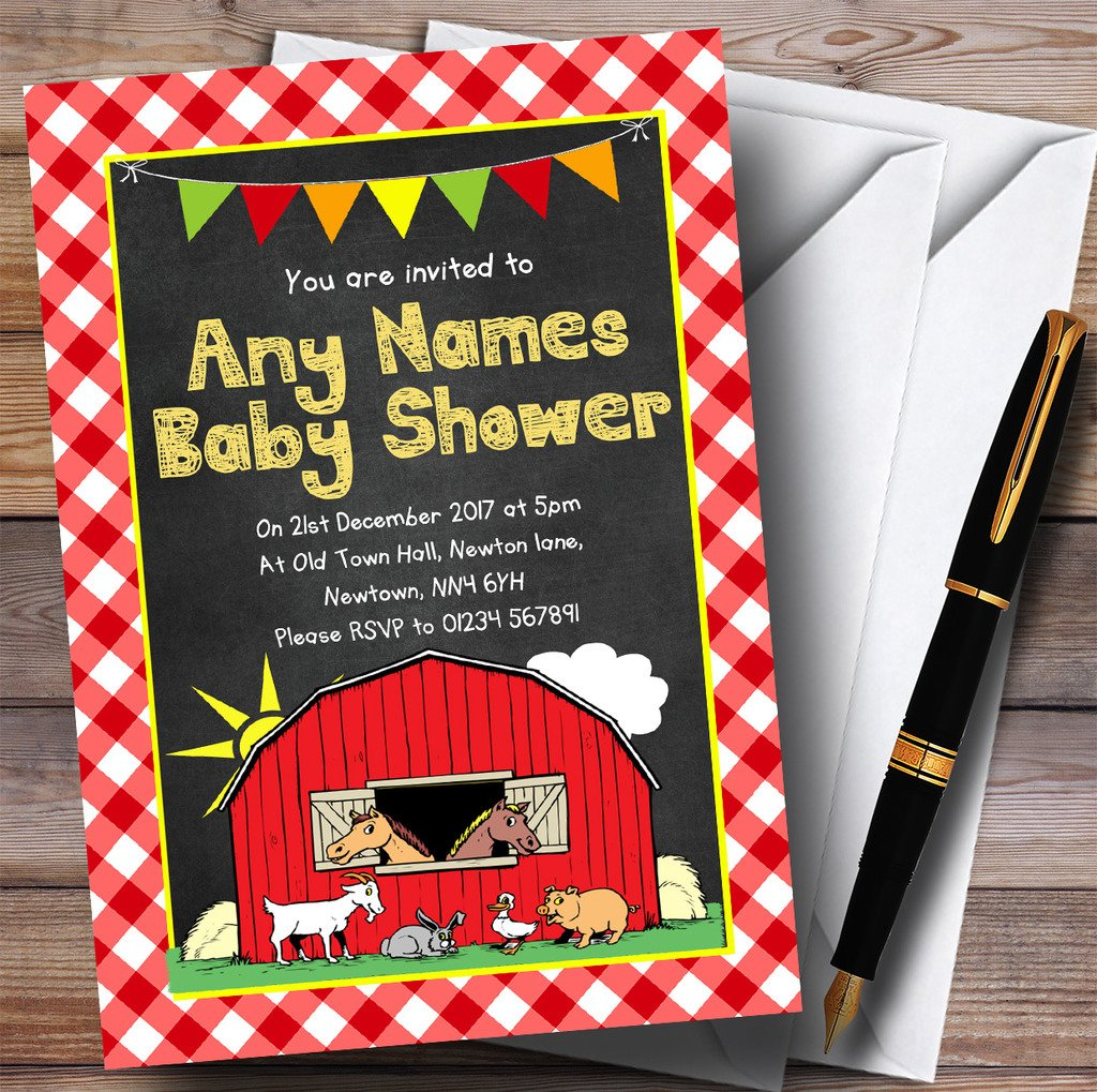 Country Barnyard Farm Animals Chalk Invitations Baby Shower Invitations