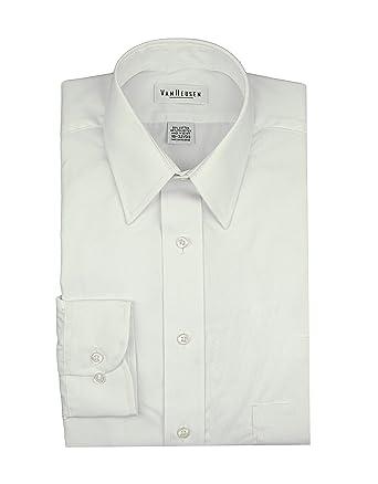 f61bf7ea06185 Van Heusen Men s Broadcloth Wrinkle free Long Sleeve Dress Shirt 14.5 32 33