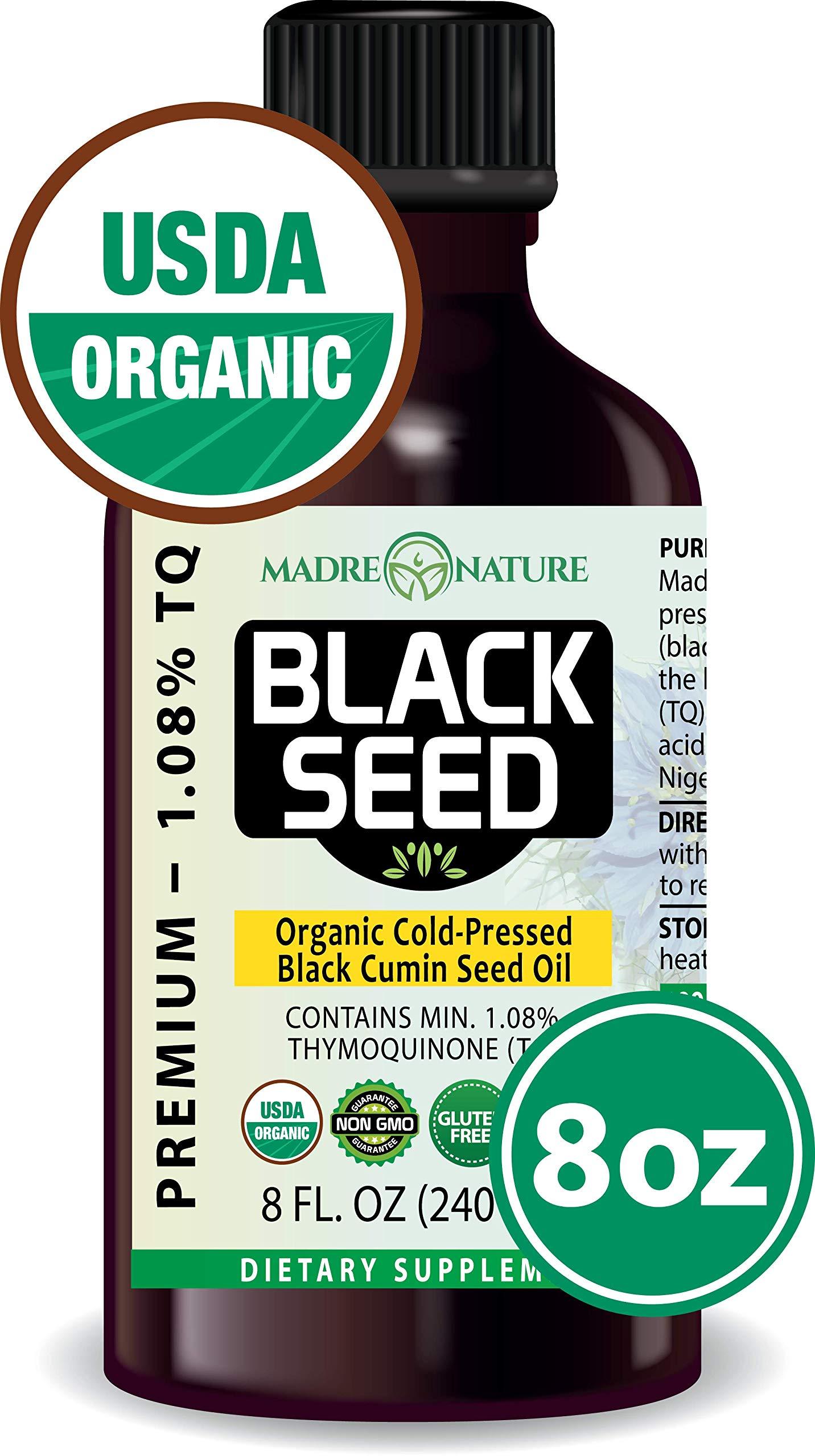 100% USDA Organic Certified Premium Black Cumin Seed Oil | GLASS BOTTLE | Darkest, Highest TQ 1.08% | Nigella Sativa | Undiluted | Cold Pressed, No Solvents | Certified Vegan, Non-GMO (8 ounce)