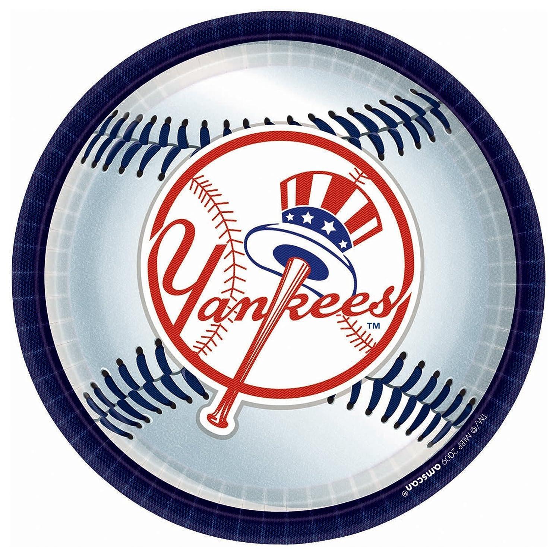 934; amscan Yankees Plates White 18 Pack