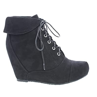 Almond Toe Lace Up Folded Cuff Hidden High Wedge Ankle Bootie