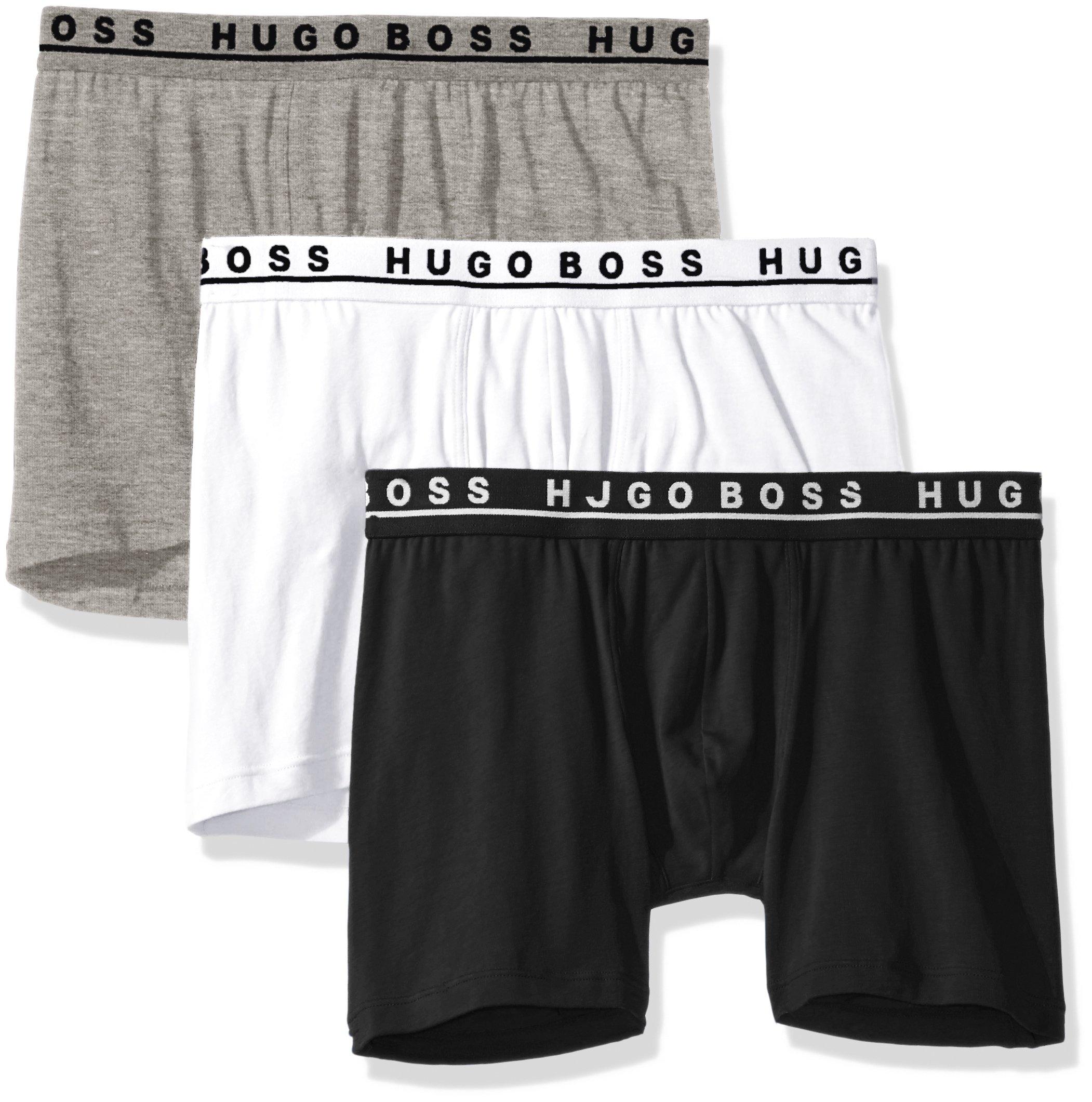 Hugo Boss BOSS Men's Cotton Stretch Boxer Brief, Pack of 3, Black/Grey/White, Large