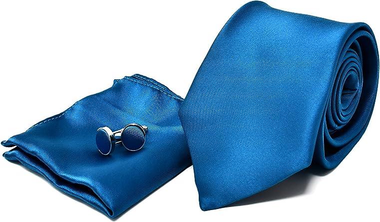 Corbata de hombre, Pañuelo de Bolsillo y Gemelos Azul Turquesa - 100% Seda - Clásico, Elegante y Moderno - (Caja y Conjunto de Regalo, ideal para una ...