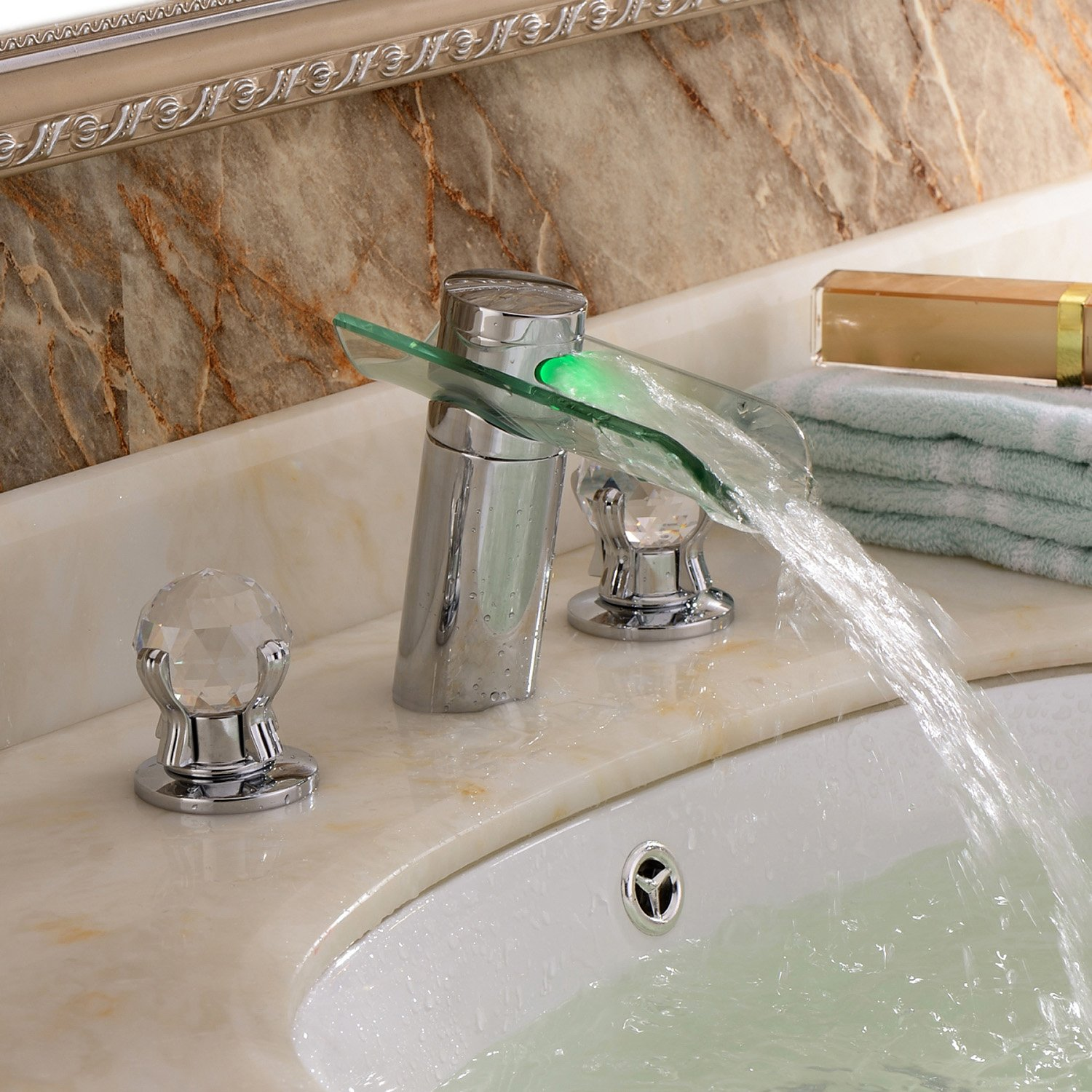 Lightinthebox® Deck Mount Contemporary Chrome Finish Two Handles Led Waterfall Glass Bathroom Sink Faucet Widespread Bathtub Mixer Taps Bath Shower Faucets Lavatory Plumbing Fixtures Single Hole Unique Designer Vessel Sink Faucets Water Flow Powered by LightInTheBox