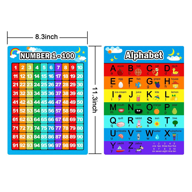 Stagioni e Mesi Numeri 1-100 Forme e Colori Giorni della Settimana Pianeta e Tempo Alfabeto Tabelle di Moltiplicazione di S 9 Pezzi Poster Educativo Prescolastico Poster Kit per Bambini Piccoli