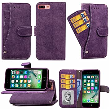 Carcasa iPhone 7 Plus / iPhone 8 Plus £¬LH P¨²rpura Tapa Carteras
