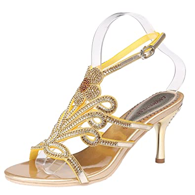 526f739fa8d JIAME Women s Rhinestones Mid Heel Peep Toe Sandals Ankle Strap Evening  Party Bridal Shoes for Ladie