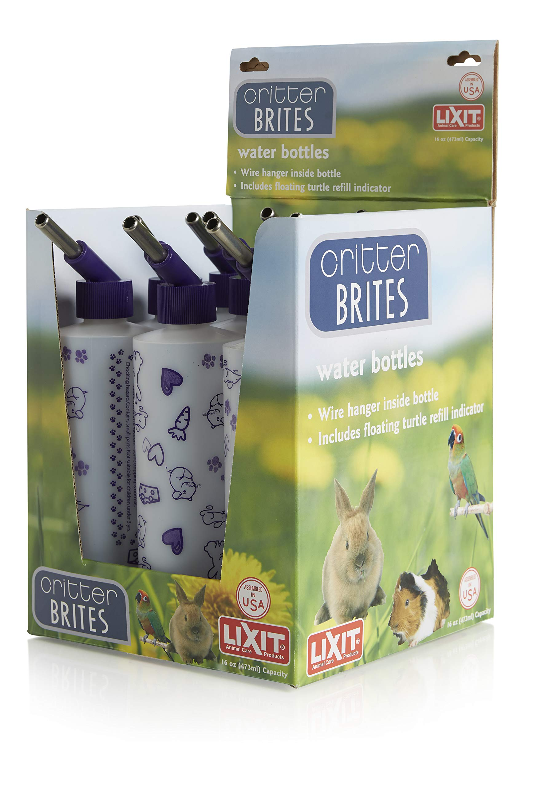 Lixit Corporation SLX0536 9-Pack Critter Brites Small Animal Water Bottle Display, 16-Ounce, Day Glow