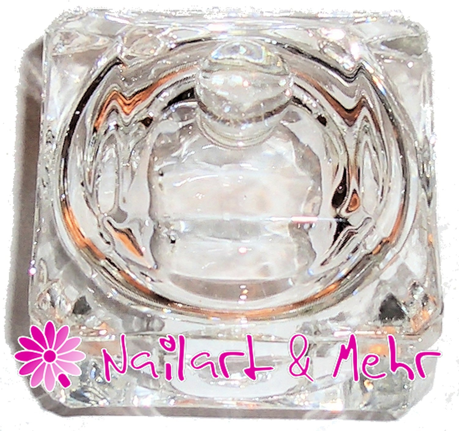 Square Glass Dappen Dish With Lid For Liquid + Powder ~ ~ Clear NAILART & MEHR