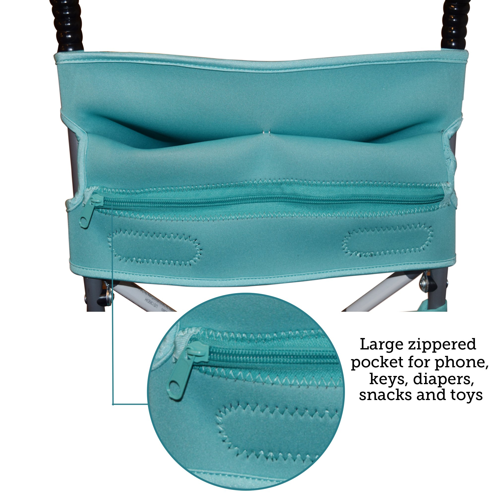 Baby Stroller Caddy Storage Organizer - Cup, Bottle and Diaper Holder for Stroller Accessories Bag - Universal Umbrella Stroller Organizer with Cup Holders - Perfect Baby Shower Gift (Turquoise) by Sunshine Nooks (Image #4)