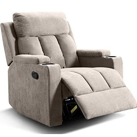Outstanding Anj Chair Recliner Contemporary Theater Recliner With 2 Cup Holders Buff Dailytribune Chair Design For Home Dailytribuneorg