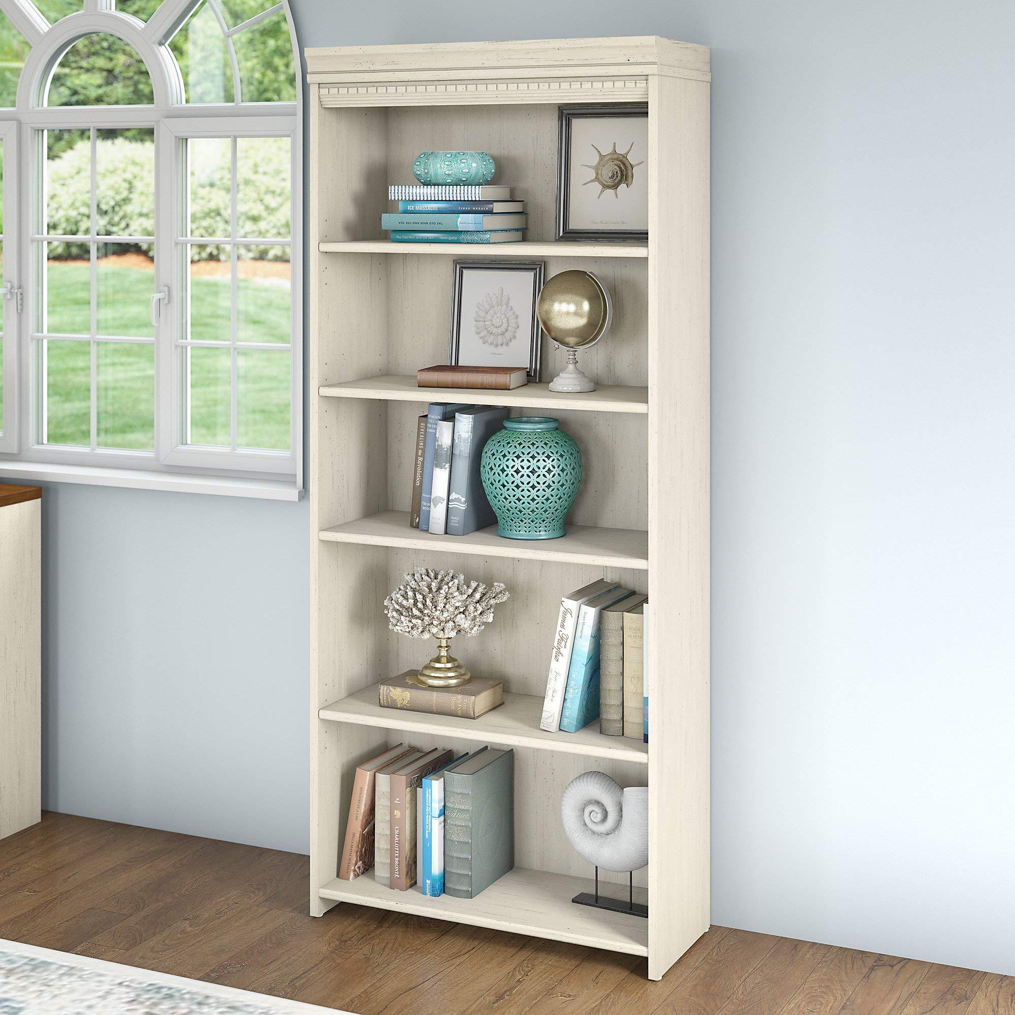 Bush Furniture Fairview 5 Shelf Bookcase in Antique White by Bush Furniture (Image #3)