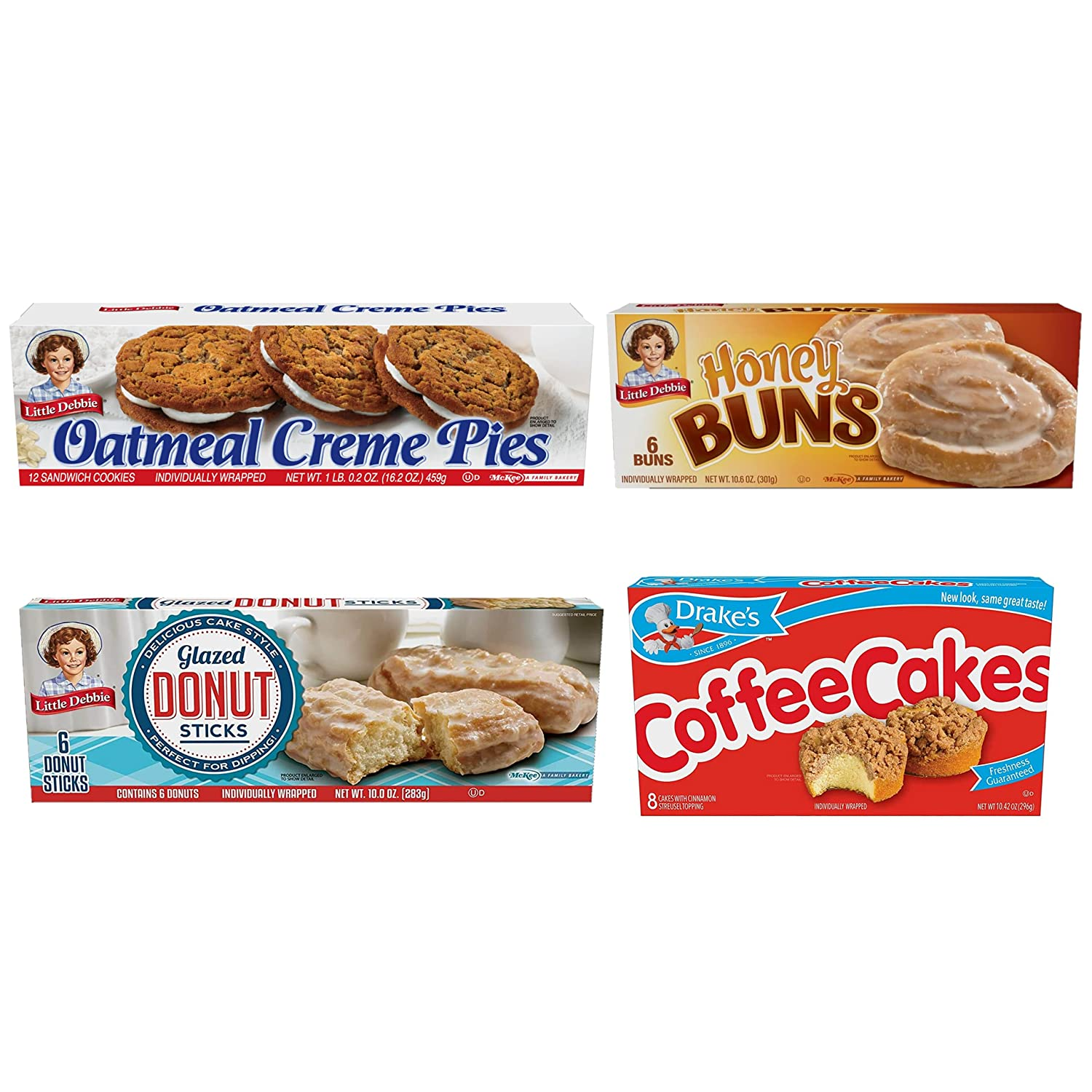 Breakfast Variety Pack: One Box each of Little Debbie Oatmeal Creme Pies, Honey Buns, Donut Sticks and Drake's Coffee Cakes! by Philly Favorites