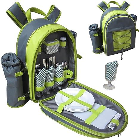 VivoCountry© - 4persona Picnic cesta mochila mochila en la mochila con servilletas,