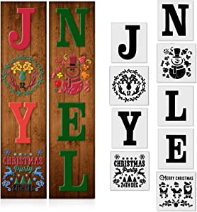9 Pieces Christmas Reusable Stencils Christmas Plastic Craft Stencils DIY Painting Template Porch Sign Merry Christmas Stencils Include Snow Santa Joy Noel Snowflake for Painting on Wood Home Decor