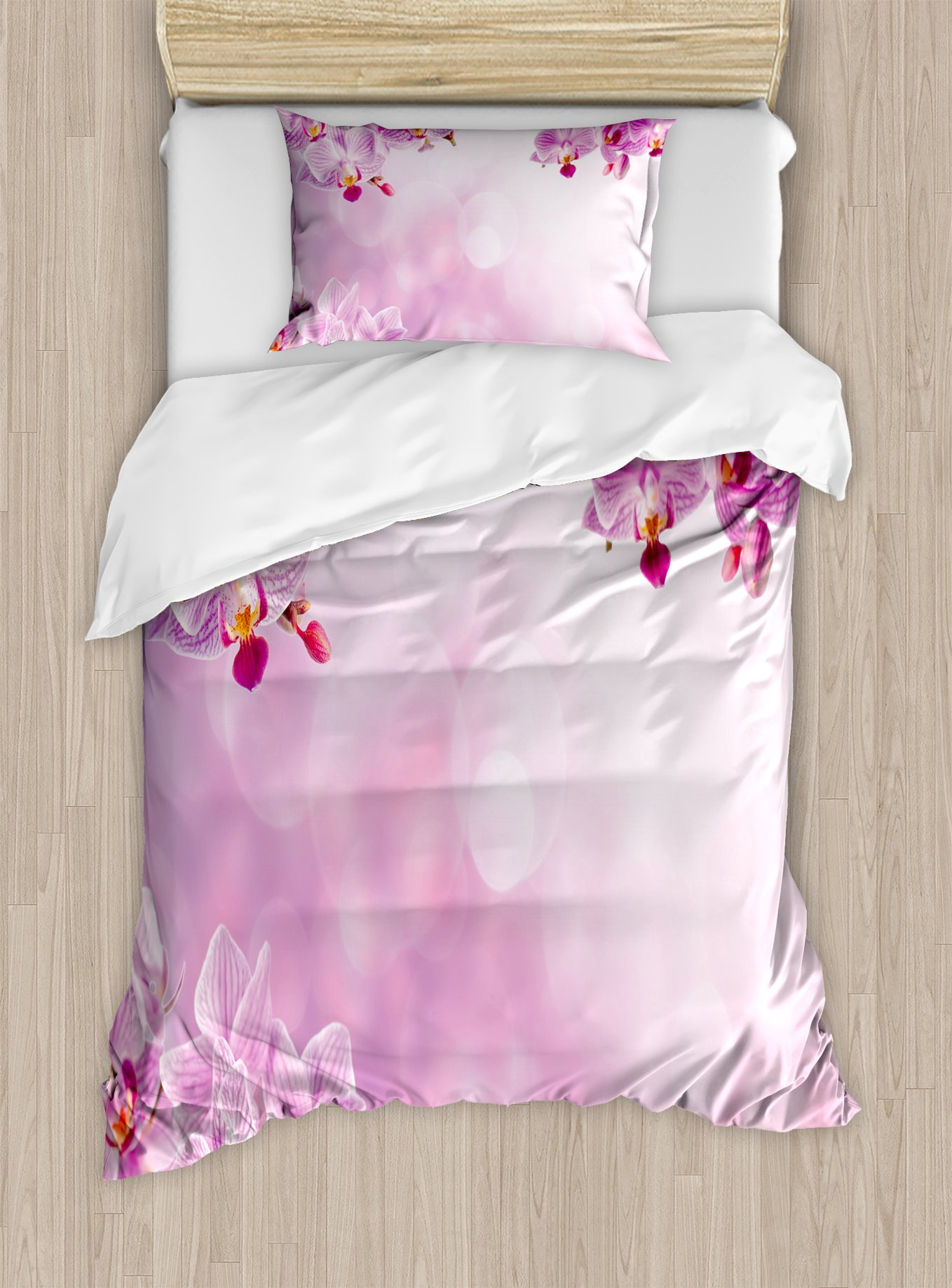 Ambesonne Spa Duvet Cover Set Twin Size, Orchid Petals in Monochrome Design Bouquet Spring Bloom Seedling Growth Peaceful Nature Print, Decorative 2 Piece Bedding Set with 1 Pillow Sham, Pink