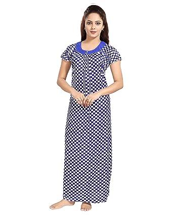fc9537f36 TUCUTE Women s Girls Chess Print Nighty Nightdress Night Gown (Blue) 1303
