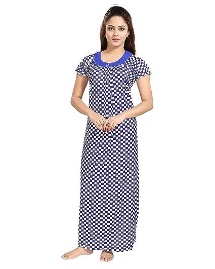 Tucute Women S Girls Chess Print Nighty Nightdress Night Gown Blue