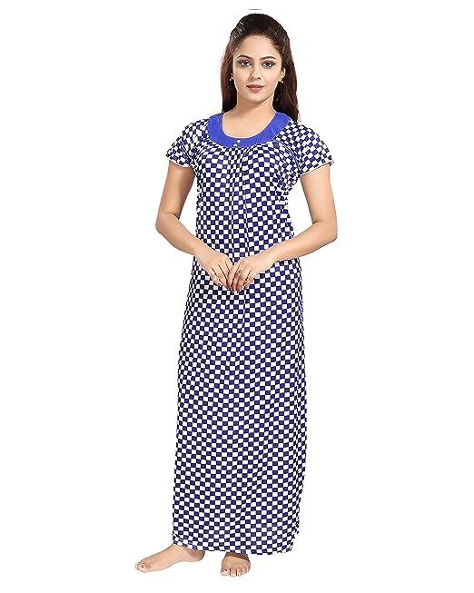 TUCUTE Women s Girls Chess Print Nighty Nightdress Night Gown (Blue) 1303 6ba64b2fd