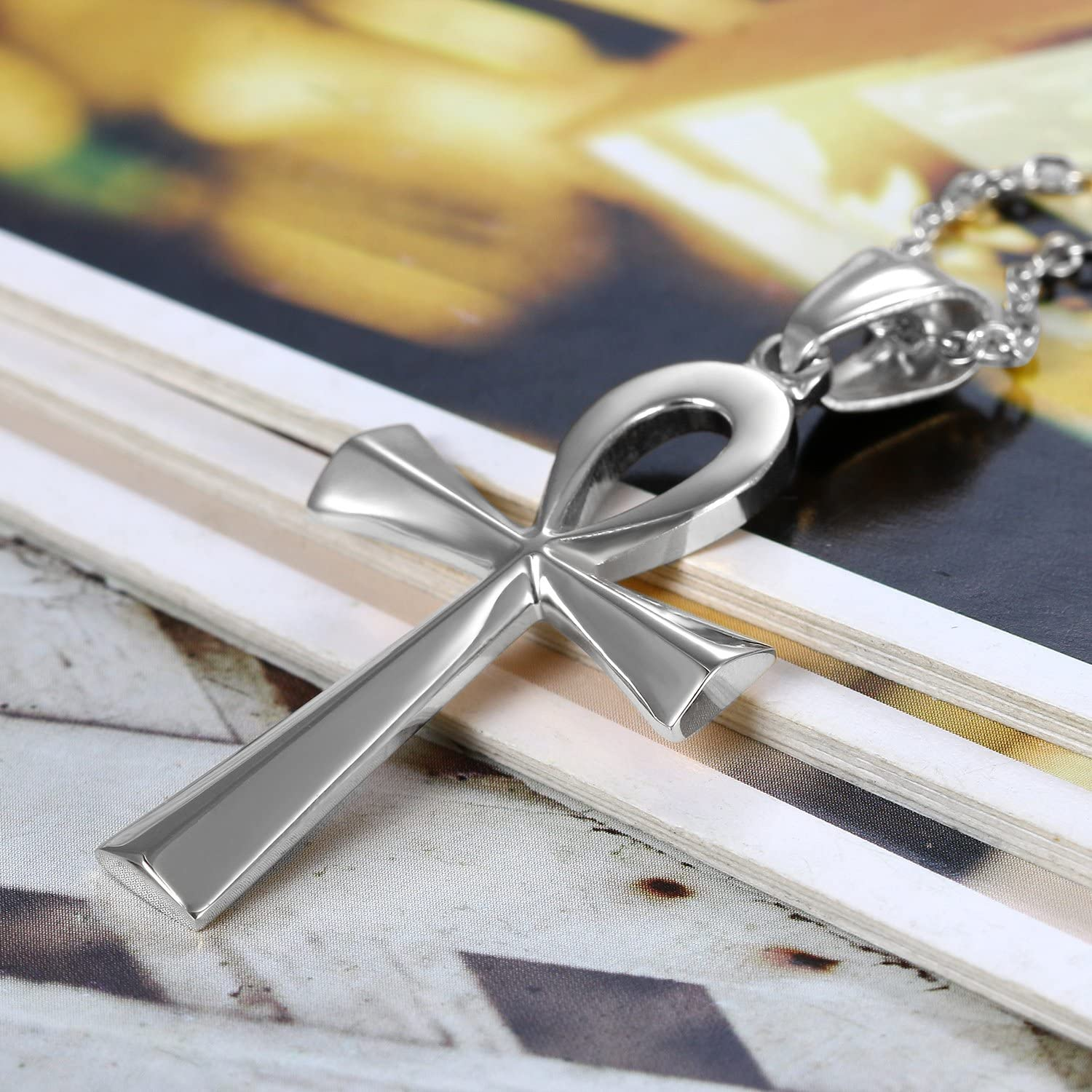 20 inch Chain Flongo Mens Womens Tribal Stainless Steel Egyptian Ankh Cross Pendant Necklace